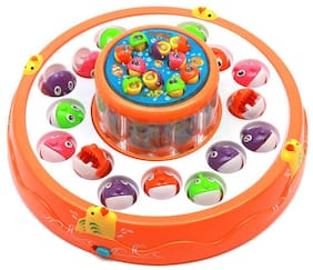 HALO NATION Colorful Magnetic Fishing Game Toy with 2 Rotating Ponds with Music & Light for Kids Boys and Girls - Learn to Fish