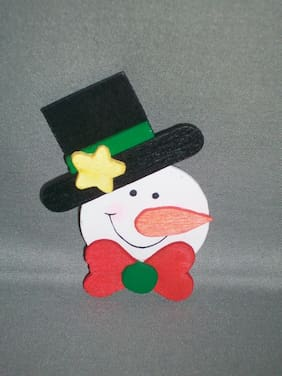 HANDMADE Child's Christmas/Holiday/Winter Painted Wood Snowman Pin - NEW