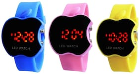 Hans Enterprise Blue & Pink & Yellow Apple Cut Led Watch For Kids Pack Of 3