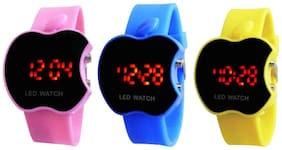 Hans Enterprise Pink & Blue & Yellow Apple Cut Led Watch For Kids Pack Of 3
