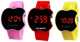 Hans Enterprise Pink & Purple & Yellow Apple Cut Led Watch For Kids Pack Of 3
