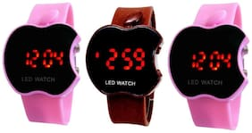Hans Enterprise Pink & Brown & Pink Apple Cut Led Watch For Kids Pack Of 3