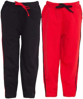 HAOSER Boy Cotton Track pants - Black & Pink