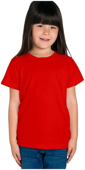 HAOSER Girl Cotton Solid T shirt - Red