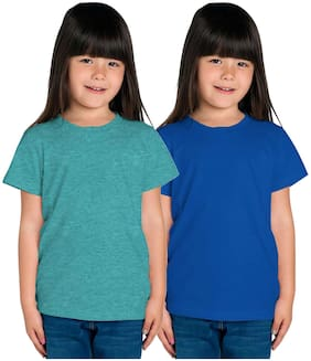 HAOSER Girl Cotton Solid T shirt - Green & Blue