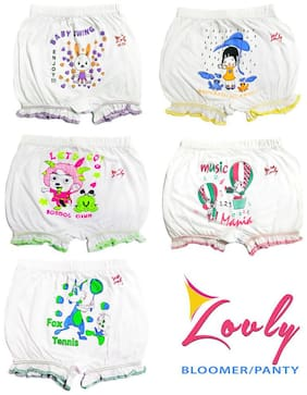 Hap Panty & bloomer for Girls - White , Set of 5