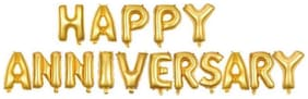 HAPPY Anniversary Golden Letters Foil Balloons For Anniversary Party Celebration