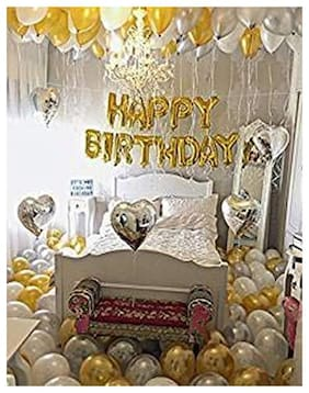 Happy Birthday 13 Letter foil Balloon(Golden)+Metallic Finish Balloons( Golden and Silver)(Pack of 50 pcs).with Free Multipurpose Curly Ribbon 1pc