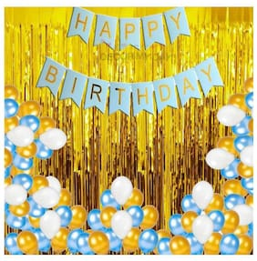 Shree & Shreeman Happy Birthday Banner(Blue Gold) for Birthday Decoration + Fringe Curtain (3x6 Feet) + HD Metallic Balloons (Pink, Gold and White) Pack of 30 + Free Multipurpose Ribbon Foil Balloon