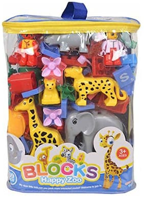 Happy Zoo Animal Blocks Toys - 69 pcs (Big Size) - for Kids of 3 to 6 yrs Age