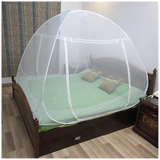 Healthgenie Double Bed Mosquito Net Foldable With Patches-Polyester Mosquito Net for King Size Bed(White,6.5x6.5ft)
