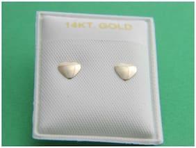 Heart Shape STUD EARRING  SOLID 14K Yellow GOLD push back earrings 14kt gold