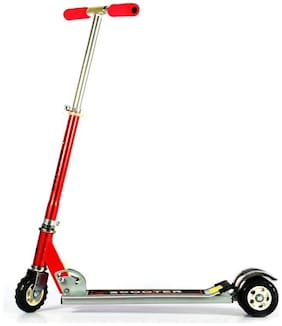 Heavy Metallic Big Size 3 Wheel Height Adjustable Kids Folding Scooter  (Red)