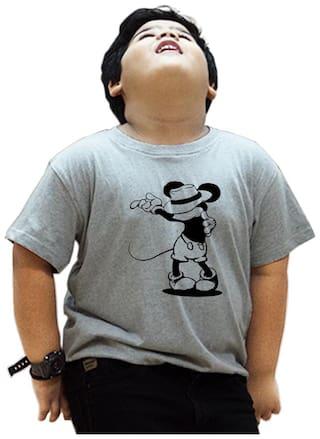 HEYUZE Boy Cotton Solid T-shirt - Grey