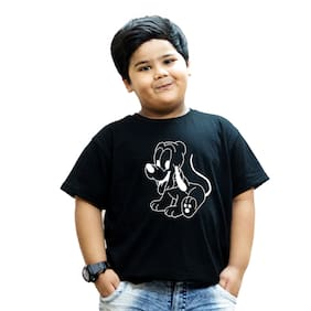 HEYUZE Boy Cotton Solid T-shirt - Black