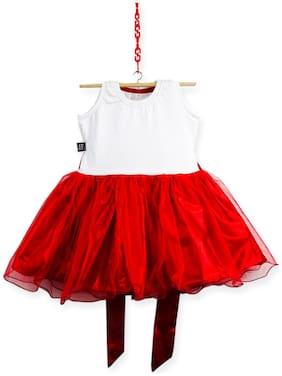 HEYUZE Red & White Blended Sleeveless Knee Length Princess Frock ( Pack of 1 )