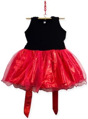 HEYUZE Black & Pink Blended Sleeveless Knee Length Princess Frock ( Pack of 1 )