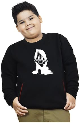 HEYUZE Boy Cotton Printed Sweatshirt - Black