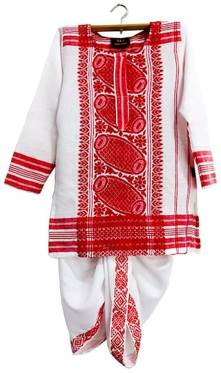 HEYUZE Kids Boys Girls Cotton Full Sleeves Assamese Gamusa Dhoti Kurta
