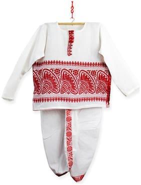 HEYUZE Boy Cotton blend Printed Dhoti kurta - Red & White