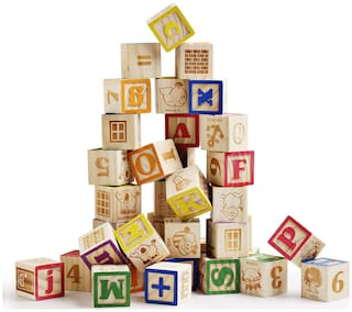 High Quality ABC Wooden Blocks - Alphabets A-B-C and Numbers 1-2-3 Building Blocks Cube Bricks Traditional Toy For Kids  (Multicolor) By Signomark.