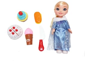 Shanaya High Quality Beautiful 25 Cms (Ht) Princess Doll With Fast Food Items Like Burger, Ice Cream, French Fries, Drink, Knife  (Multicolor & Assorted Dolls)