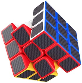 High Speed Carbon Fiber Sticker 3x3 Colors Magic Cube Puzzle Toy with Adjustable Speed (5.5cm)