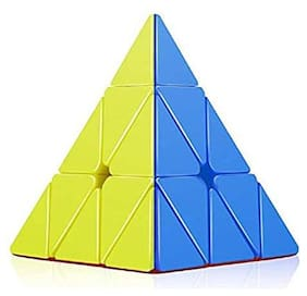High Speed Pyraminx Stickerless Triangle Rubik Cube Puzzle (Multicolor)