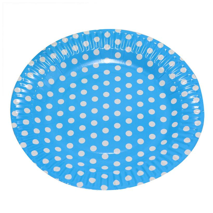 Hippity Hop Paper Plates White and Light Blue Polka Dot Design Paper Plates Package Supplies Combo Paper Napkins Party Supplies Tableware Disposables