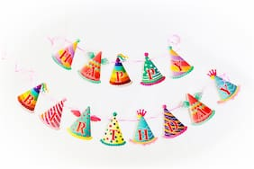 HIPPITY HOP Happy Birthday Banner / Bunting;Cone Cap Design for Birthday;Theme Party (Cone Cap Multi Colour)