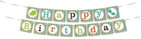 HIPPITY HOP Cute Dinosaur Happy Birthday Banner Bunting Birthday Dinosaur Theme Party;Dino Theme;(Dinosaur Theme - Green)