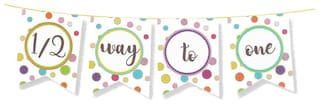 HIPPITY HOP Half Birthday Party Banner Party Bunting Party Decoration Boys 1/2 Birthday Party Supplies/ Girls 1ST Birthday Party Decoration Birthday First Birtday Theme (Half 1/2 Way to One)