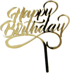 Hippity Hop Golden Glitter Acrylic Happy Birthday Cake Topper   Birthday Cake Supplies Cake Bunting Decorations Size - 4 Inch by 6 Inch
