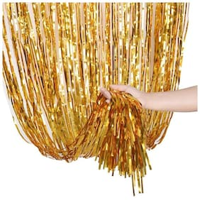 Hippity Hop Gold Shiney Foil Curtain for Girls Birthday Decoration;Baby Shower;Bride to Be Decoration Or Birthday Parties Backdrop 3x6 Ft (Pack of 1)