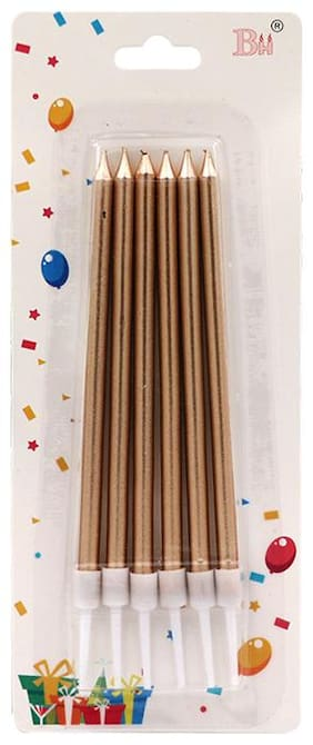 HIPPITY HOP Rose Gold Birthday Cake Candles;Slim Candle;Metallic Long Thin Cake Candle in Holder for Cupcake Wedding(Pack of 6)