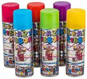 Hippity Hop Trendy Tap Fun Party Accessories Crazy Ribbon Spray Party Spray in Assorted Color (Pack of 2)