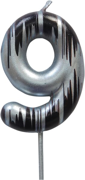 HIPPITY HOP Numerical No. 0 Silver Candle with Black Design Candle (3-inch) Number Candle;no Candle for Birthday Parties (Silver Black)