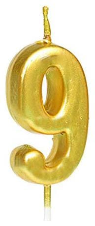HIPPITY HOP Numerical No. 9 Candle (3-inch) Number Candle;no Candle for Birthday Parties;Wedding;Engagement;Anniversary (Gold)