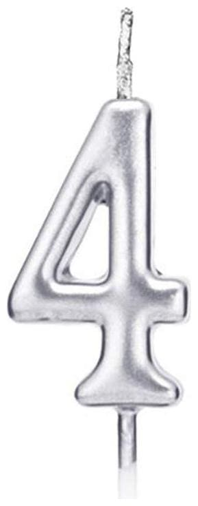 HIPPITY HOP Numerical No. 4 Candle (3-inch) Number Candle;no Candle for Birthday Parties;Wedding;Engagement;Valentines Day Celebration;Theme Party;Anniversary (Silver)