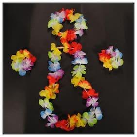 Hippity Hop Hawaii Flower Garland Necklace Headband Headpiece Bracelet Set for Luau Beach Party
