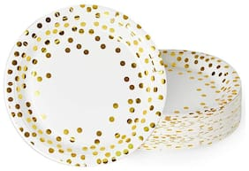 HIPPITY HOP White and Gold Foil Polka Dot Disposable Paper Plates Dinnerware Plates for Party;9 inches (White) (Pack of 10)