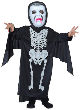 Hippity Hop Scary Ghost Bhoot Skeleton Halloween Costume Theme Party Dress for Child and Adults