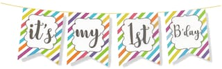 HIPPITY HOP First Birthday Party Banner;Party Bunting;Party Decoration;Boys 1ST Birthday Party Supplies/ Girls 1ST Birthday Party Decoration;Birthday;First Birtday Theme (Its My First Birthday)