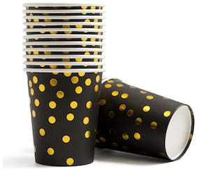 HIPPITY HOP Black and Gold Foil Polka Dot Paper Cups / Glasses 9 oz;Disposable for Party;Birthday;Bridal/Baby Shower(Pack of 10)
