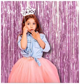Hippity Hop Pink Shiney Foil Curtain for Girls Birthday Decoration;Baby Shower;Bride to Be Decoration;Birthday Parties Backdrop - 3ft by 6ft (Pack of 1)