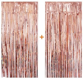 HIPPITY HOP Rose Gold Foil Curtain;3 ft x 6 ft Photo Backdrop for Birthday Party Wedding Decor;Metallic Foil Curtain for Birthday(Pack of 2;Rose Gold)