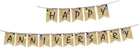 HIPPITY HOP Happy Anniversary Banner for Anniversary Decoration;Anniversary Paper Bunting;Wedding Aniversary (Pack of 1)