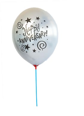 Hippity Hop Happy Anniversary Printed 12 inch Latex Chrome Balloon for Happy Anniversary Decoration Milestone Anniversary Anniversary Party;(10 Pieces) Silver