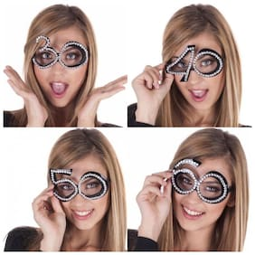 Hippity Hop 30th Birthday Glasses Goggle - Number Crystal Frame;Party Favors;Wedding;Funny Costume Sunglasses;Novelty Eyewear Celebration Decoration for Kids and Adults