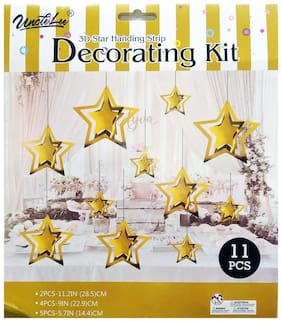 HIPPITY HOP Gold Star 3D Hanging Paper Garland Kit for Party;Happy Birthday;Anniversary Paper Party Decoration (Pack of 11)